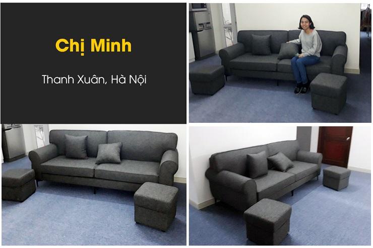 Bàn giao bọc lại sofa vải nỉ chị Minh
