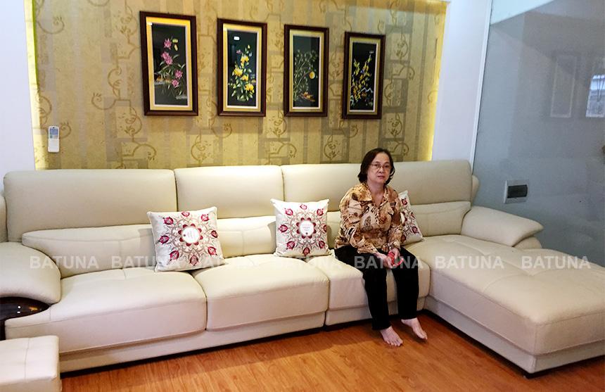 Bọc nệm ghế sofa gia đình cô Vân sau khi hoàn thành