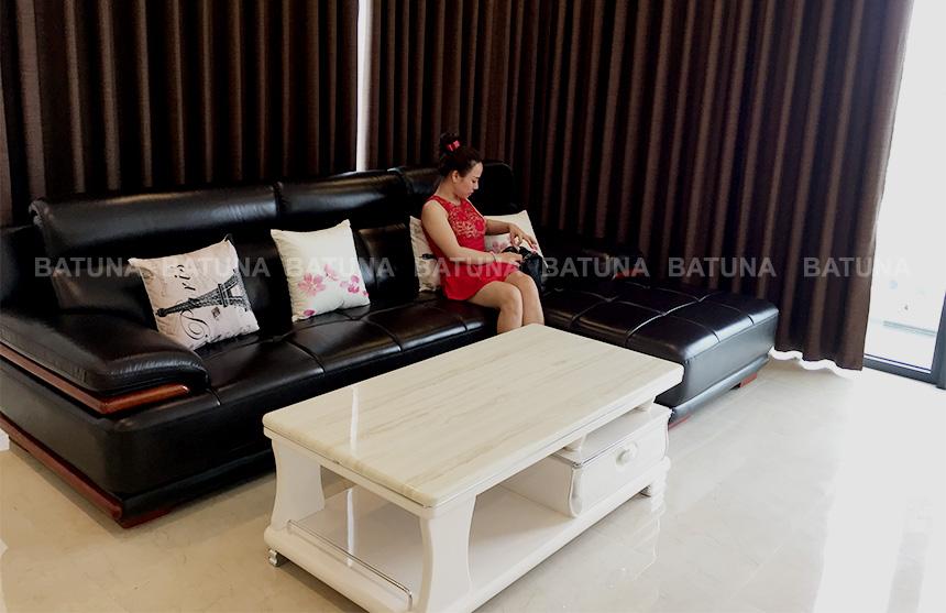 Bọc ghế sofa da gia đình chị Hải