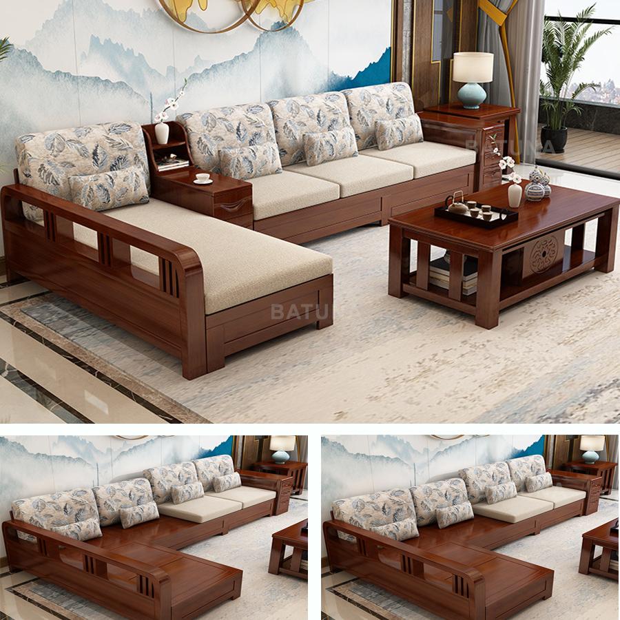 Bọc đệm ghế gỗ phòng khách do Batuna thi công